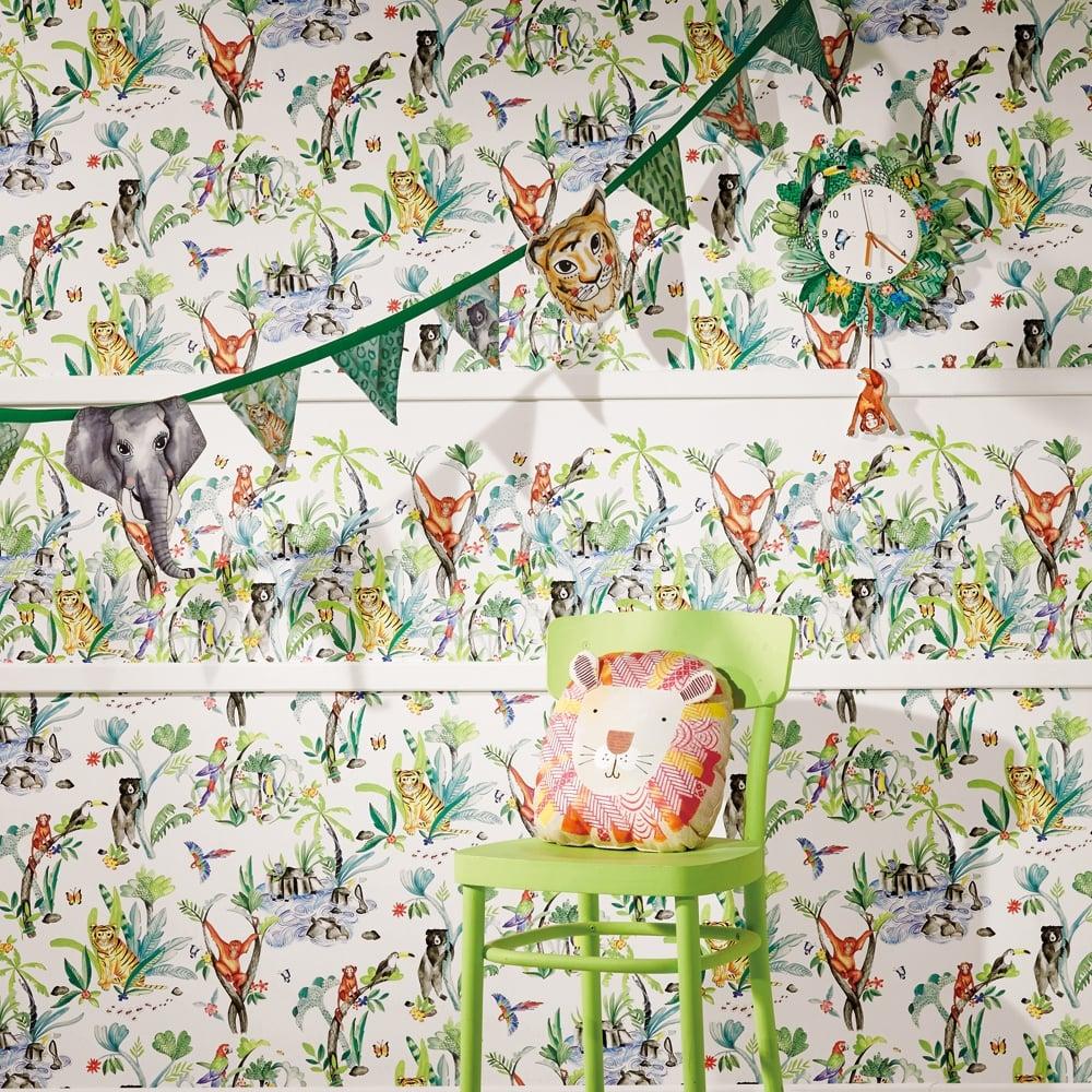 Arthouse Jungle Mania Animal Pattern Wallpaper Childrens Cartoon Motif 696008 White I Want Wallpaper