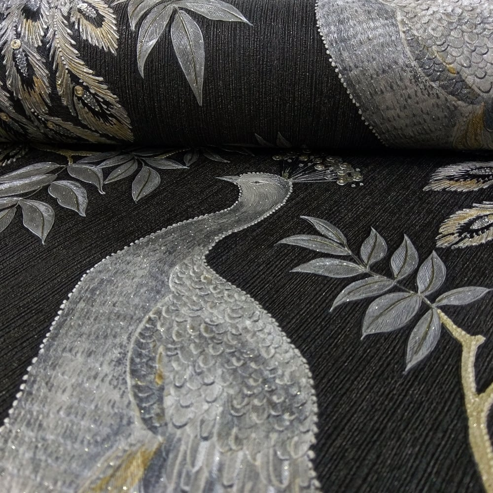 Arthouse lazzaro peacock pattern wallpaper bird leaf - Art house wallpaper uk ...