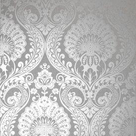 Arthouse Lucetta Floral Damask Luxury Glitter Vinyl Dove Grey Wallpaper 290201