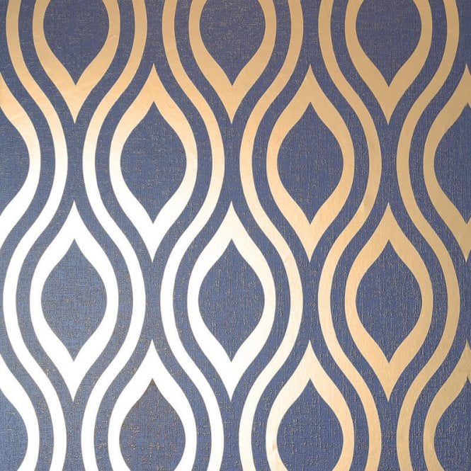 Arthouse Luxe Ogee Geo Wave Metallic Textured Vinyl Retro