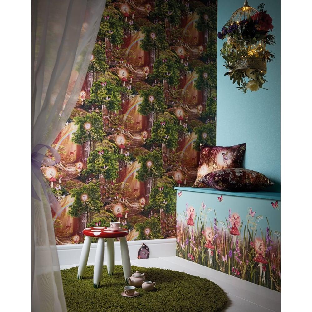 Arthouse Magic Garden Forest Pattern Childrens Wallpaper Pixie Fairy Trees 696009