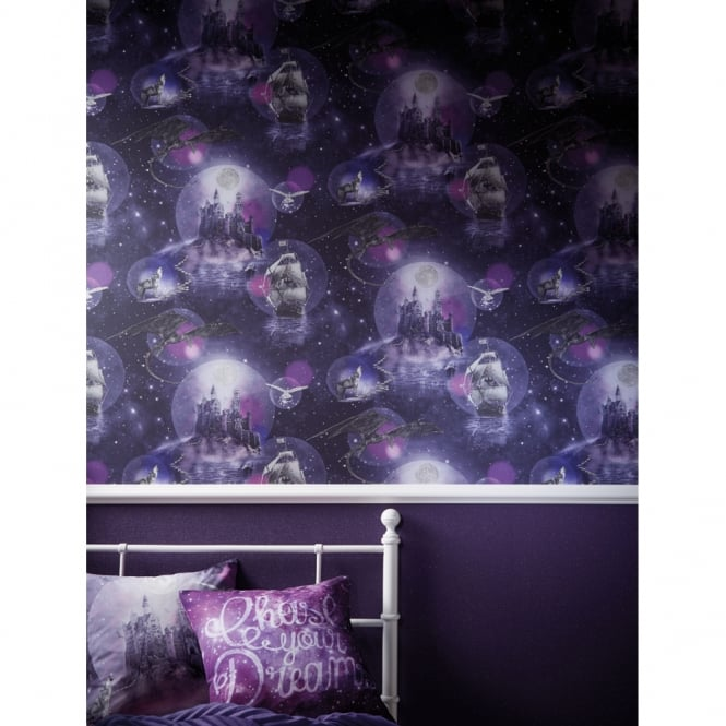 Arthouse Magical Kingdom Fantasy Pattern Childrens Wallpaper Wolf Glitter 696101
