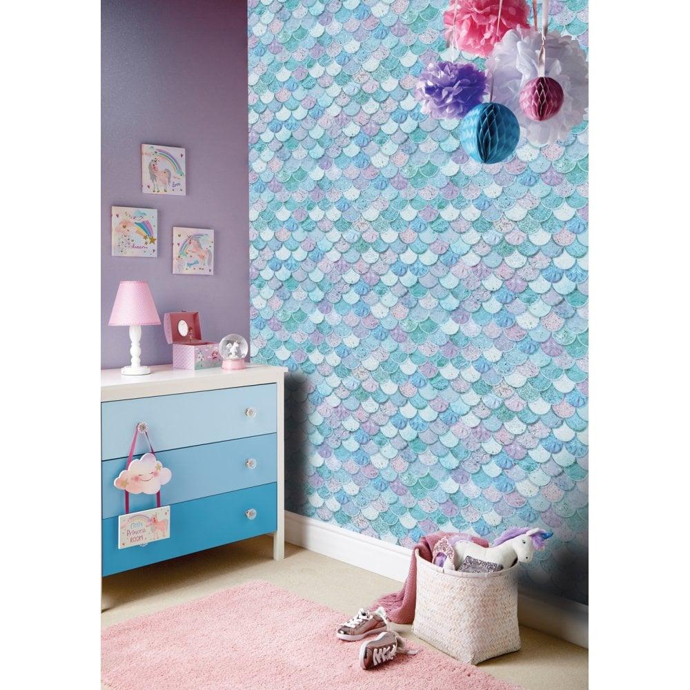 Arthouse Glitter Detail Kids Girls Bedroom Wallpaper: Arthouse Mermazing Ice Blue Glitter Mermaid Collage Shells