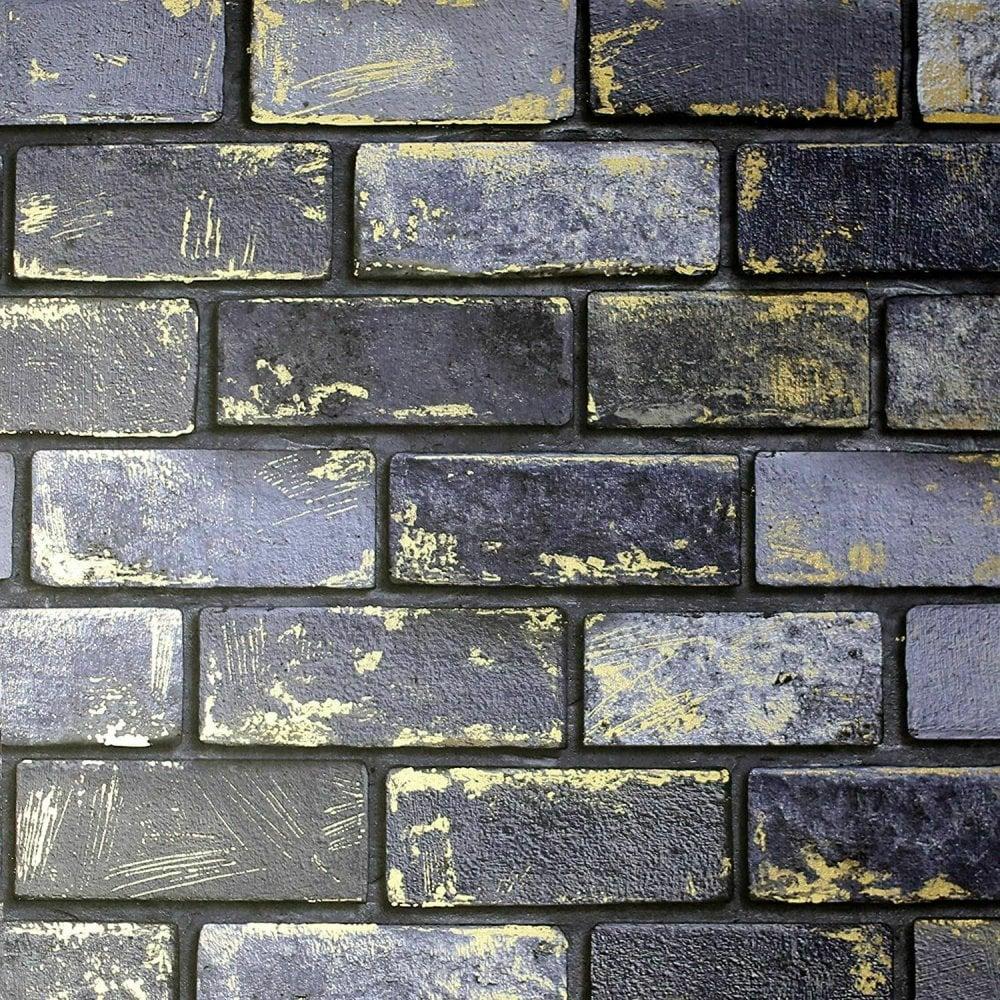 Arthouse Metallic Brick Wall Wallpaper Realistic 3d Rustic