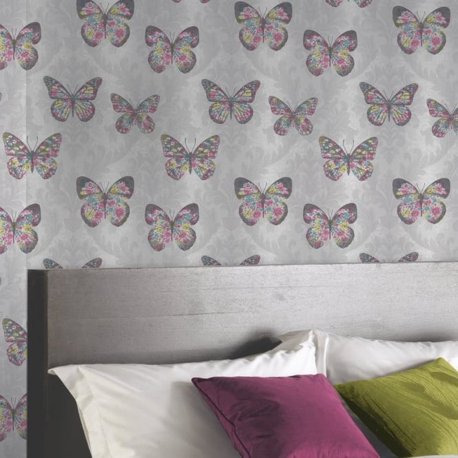 Arthouse Midsummer Damask Pattern Floral Butterfly Motif Glitter Wallpaper 661203