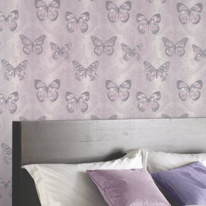 Arthouse Midsummer Damask Pattern Floral Butterfly Motif Glitter Wallpaper 661204