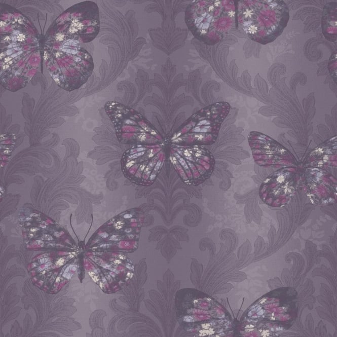 Arthouse Midsummer Damask Pattern Floral Butterfly Motif Glitter Wallpaper 661205