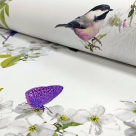 Arthouse Mitzu Floral Pattern Bird Butterfly Flower Motif Glitter Wallpaper 670401