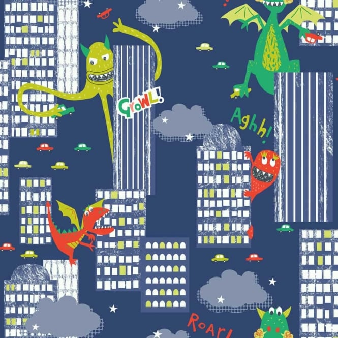 Arthouse Monster Madness City Pattern Dragon Dinosaur Childrens Wallpaper 667701