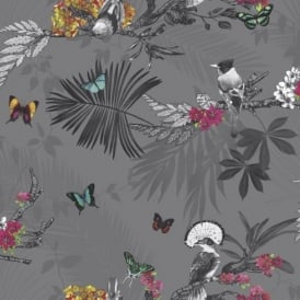 Arthouse Mystical Forest Floral Leaf Pattern Bird Butterfly Motif Wallpaper 664800
