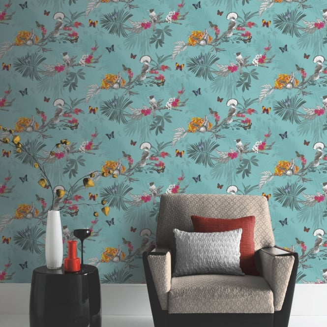 Arthouse Mystical Forest Floral Leaf Pattern Bird Butterfly Motif Wallpaper 664801