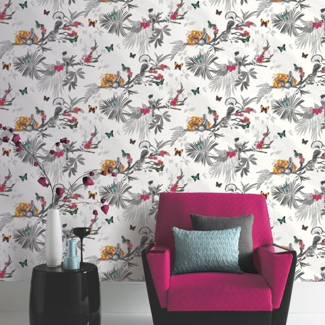 Arthouse Mystical Forest Floral Leaf Pattern Bird Butterfly Motif Wallpaper 664802