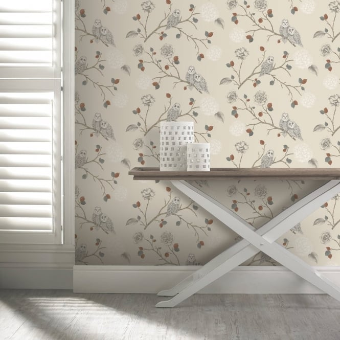 Arthouse Night Owl Floral Pattern Bird Flower Leaf Glitter Motif Wallpaper 665000