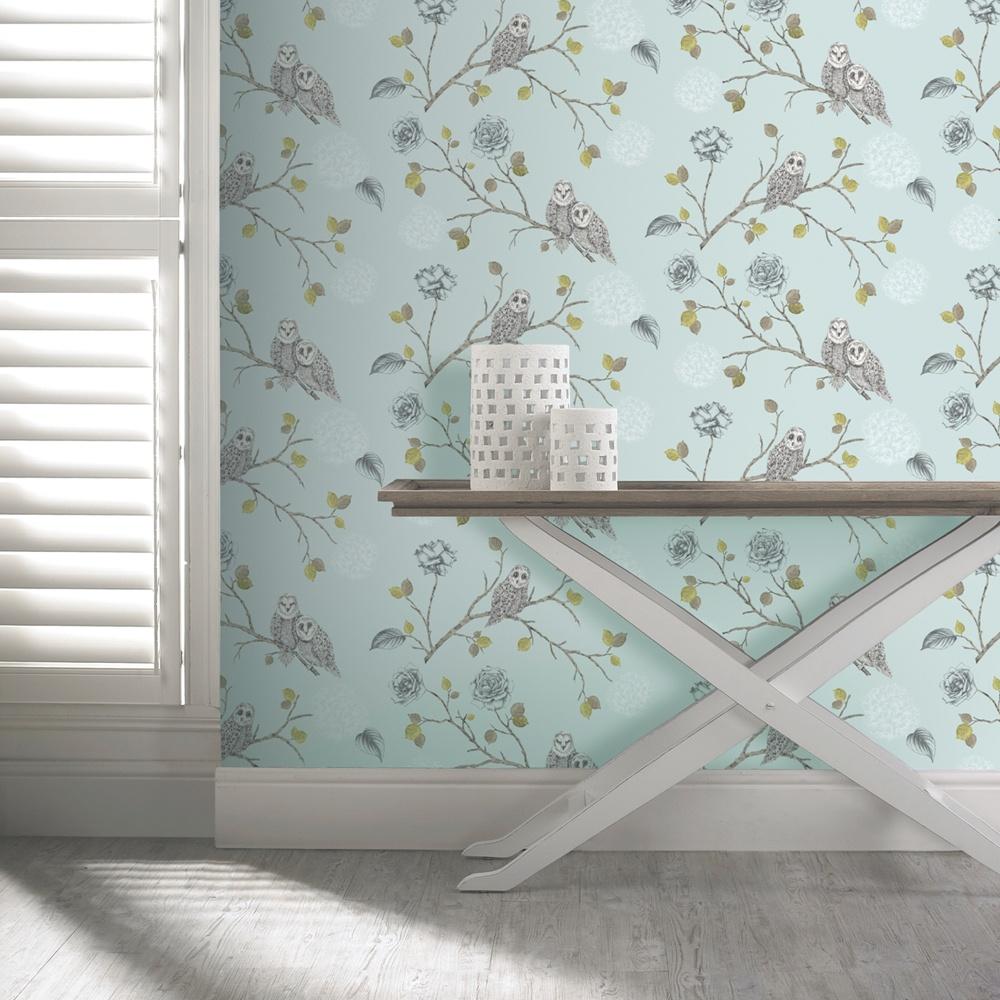 Arthouse night owl floral pattern bird flower leaf glitter - Art house wallpaper uk ...