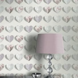Arthouse Olivia Heart Pattern Rose Motif Flower Wood Floral Wallpaper 669701