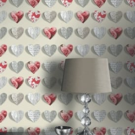 Arthouse Olivia Heart Pattern Rose Motif Flower Wood Floral Wallpaper 669702