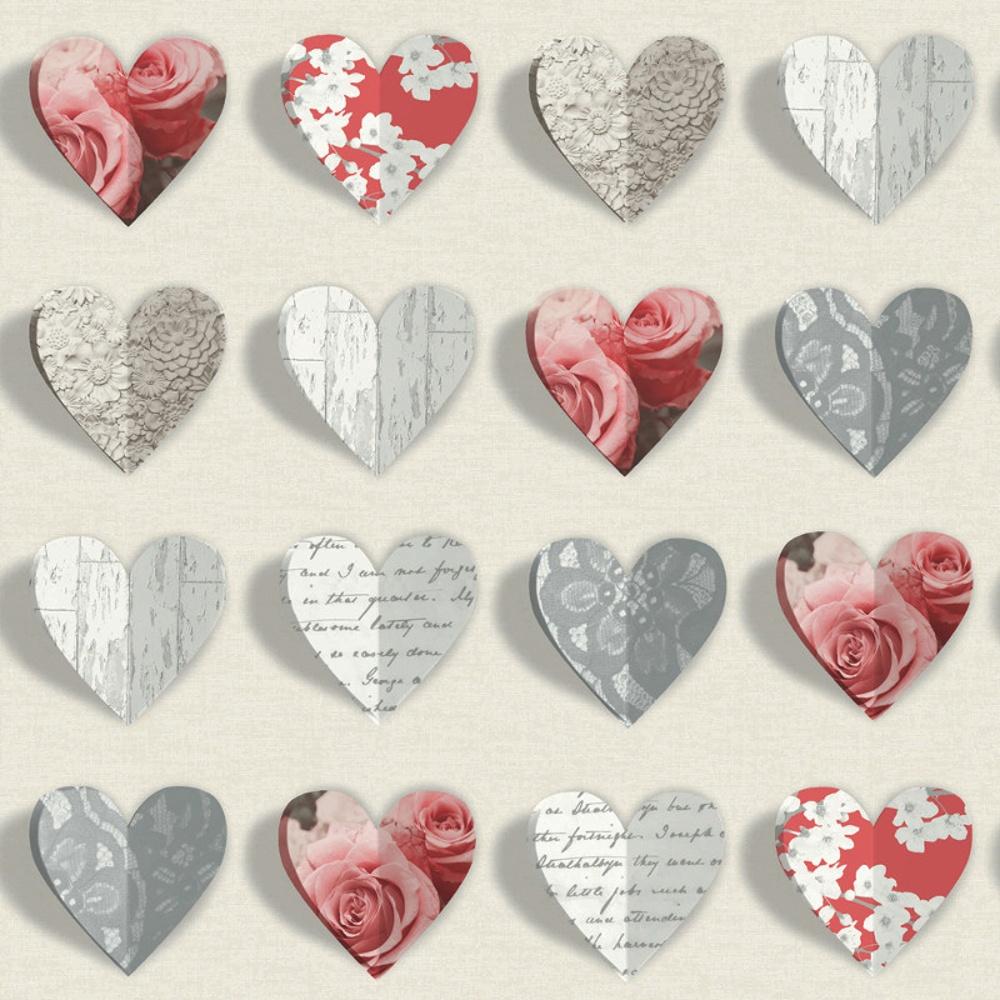 Arthouse Olivia Heart Pattern Rose Motif Flower Wood Floral Wallpaper 669702