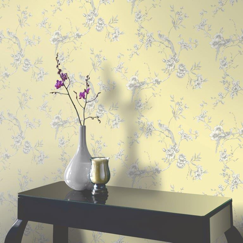 Arthouse opera chinoise floral pattern songbird flower - Art house wallpaper uk ...