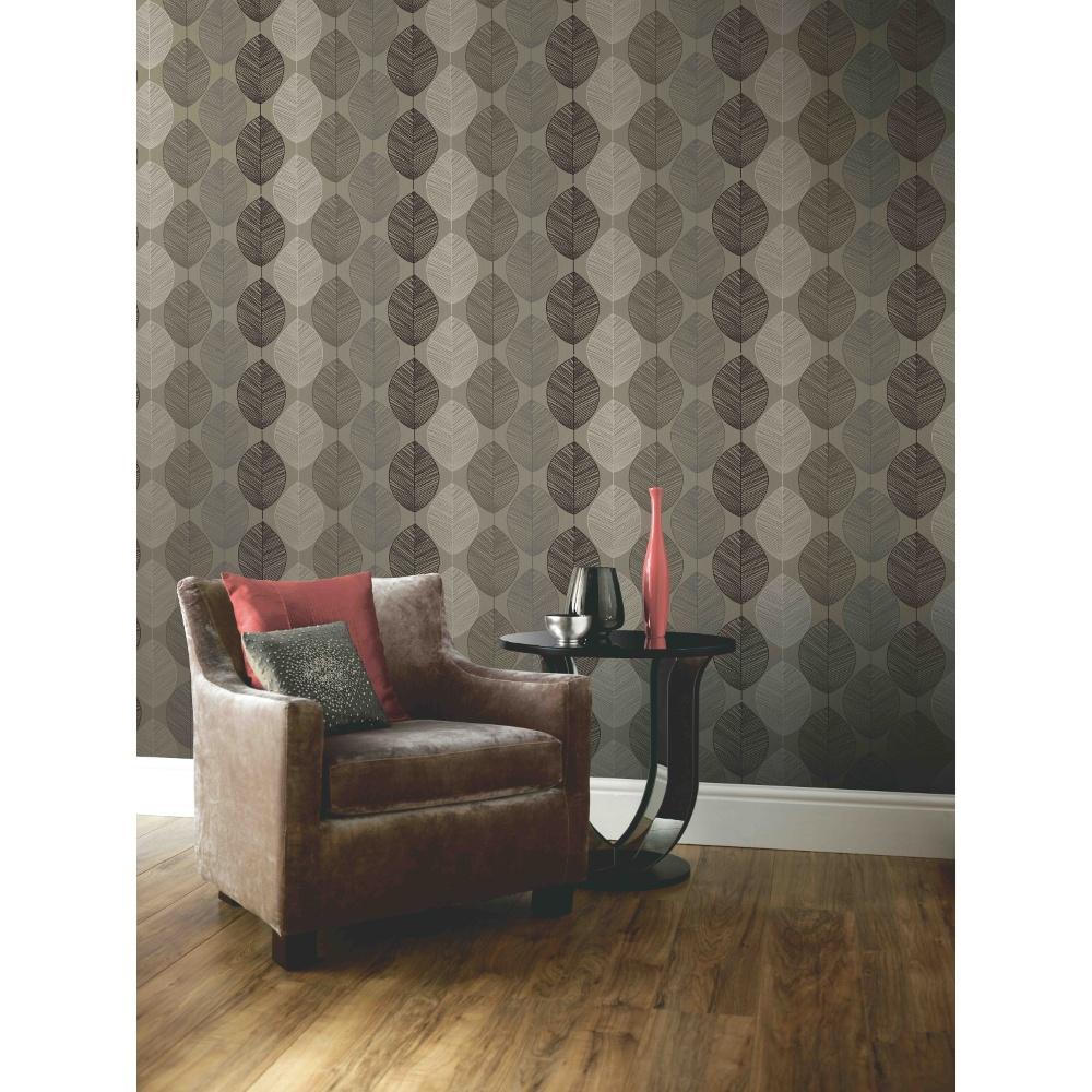Arthouse opera retro leaf pattern leaves motif designer - Art house wallpaper uk ...