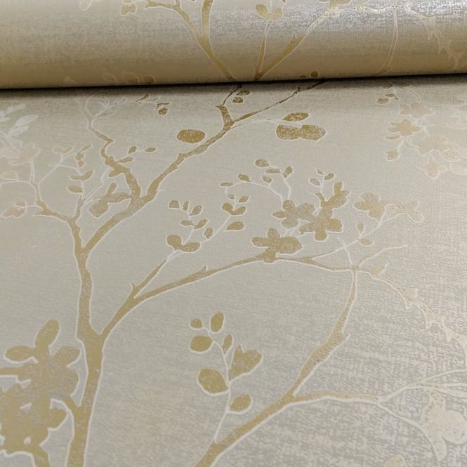 Arthouse Orabella Floral Pattern Flower Leaf Metallic Vinyl Wallpaper 673401