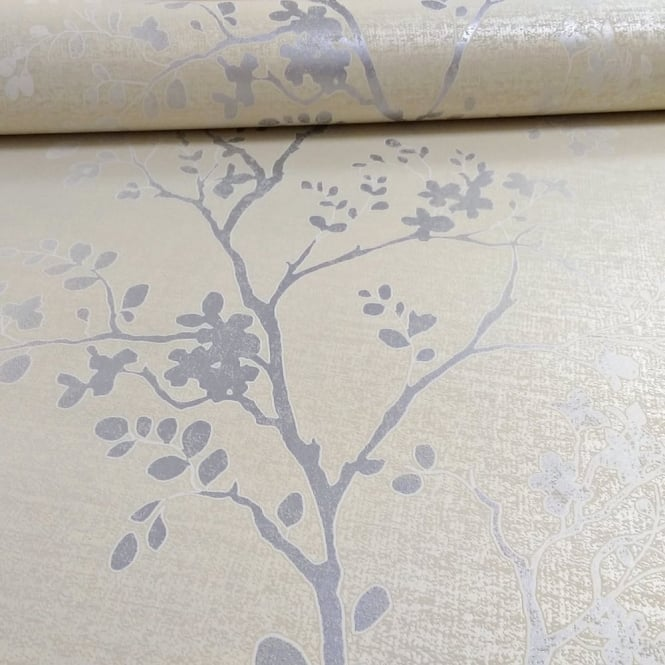 Arthouse Orabella Floral Pattern Flower Leaf Metallic Vinyl Wallpaper 673402