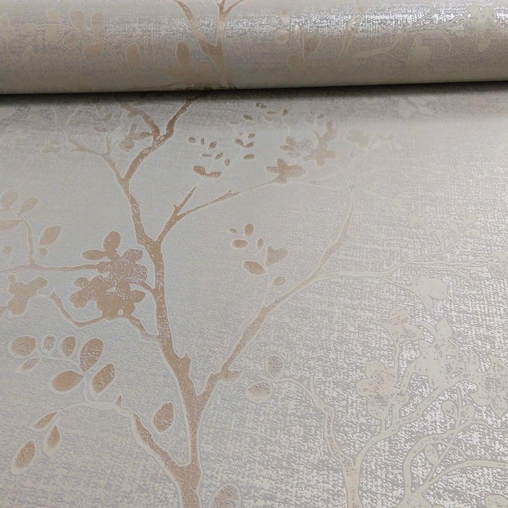 Arthouse orabella floral pattern flower leaf metallic - Art house wallpaper uk ...