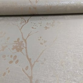 Arthouse Orabella Floral Pattern Flower Leaf Metallic Vinyl Wallpaper 673403