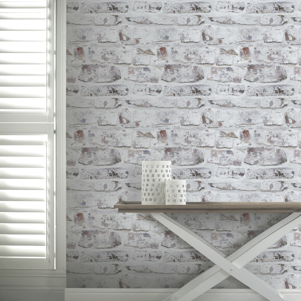 Arthouse Arthouse Painted Brick Pattern White Washed Realistic Mural Wallpaper 671100