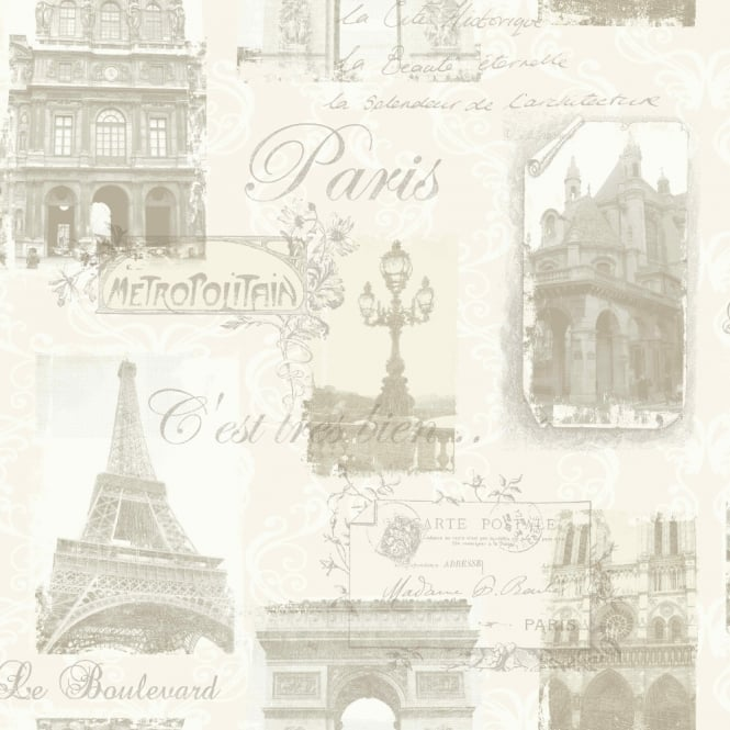 Arthouse Paris Collage Pattern Wallpaper Eiffel Tower Metallic Typography 692000