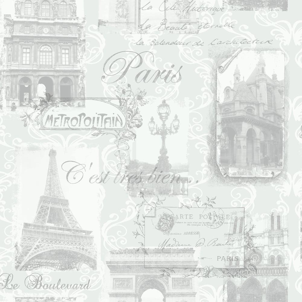 Arthouse Paris Collage Pattern Wallpaper Eiffel Tower Metallic Typography 692001