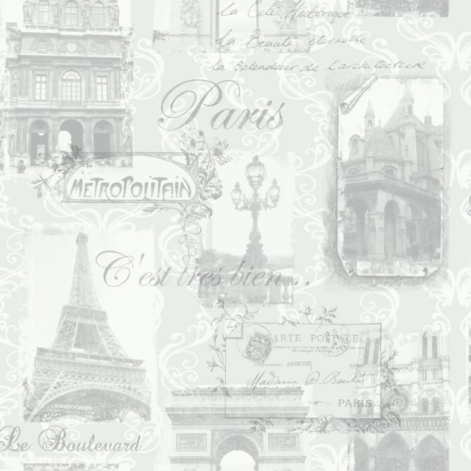 Arthouse Paris Collage Pattern Wallpaper Eiffel Tower Metallic Typography 692001