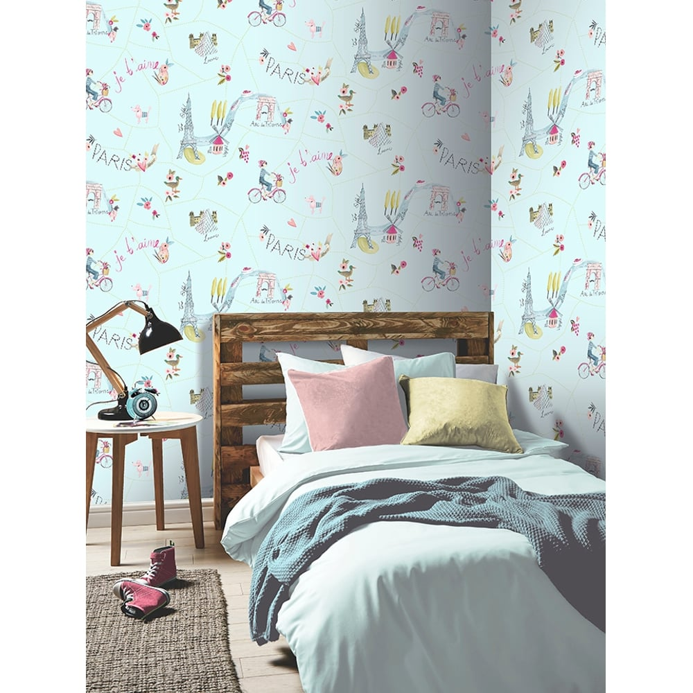 As Creation Pink Paris Pattern Eiffel Tower Childrens: Arthouse Paris With Love Painting Pattern Wallpaper