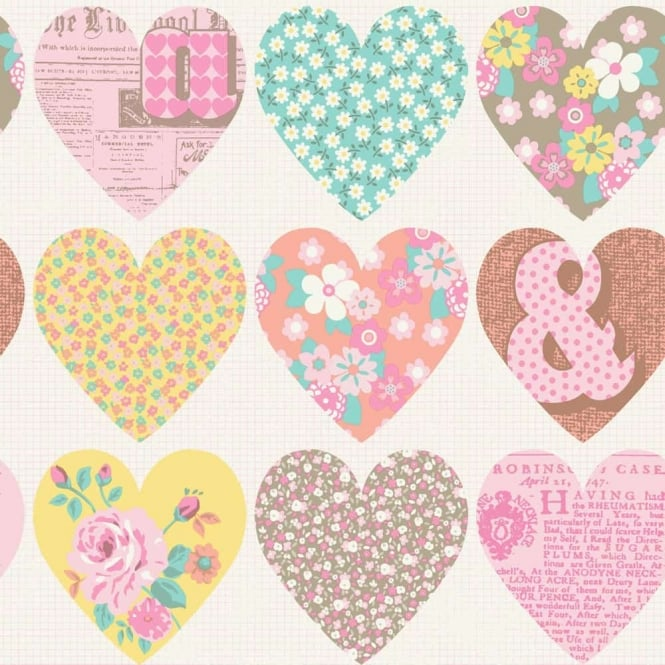 Arthouse Patchwork Heart Floral Pattern Typography Flower Wallpaper 668500