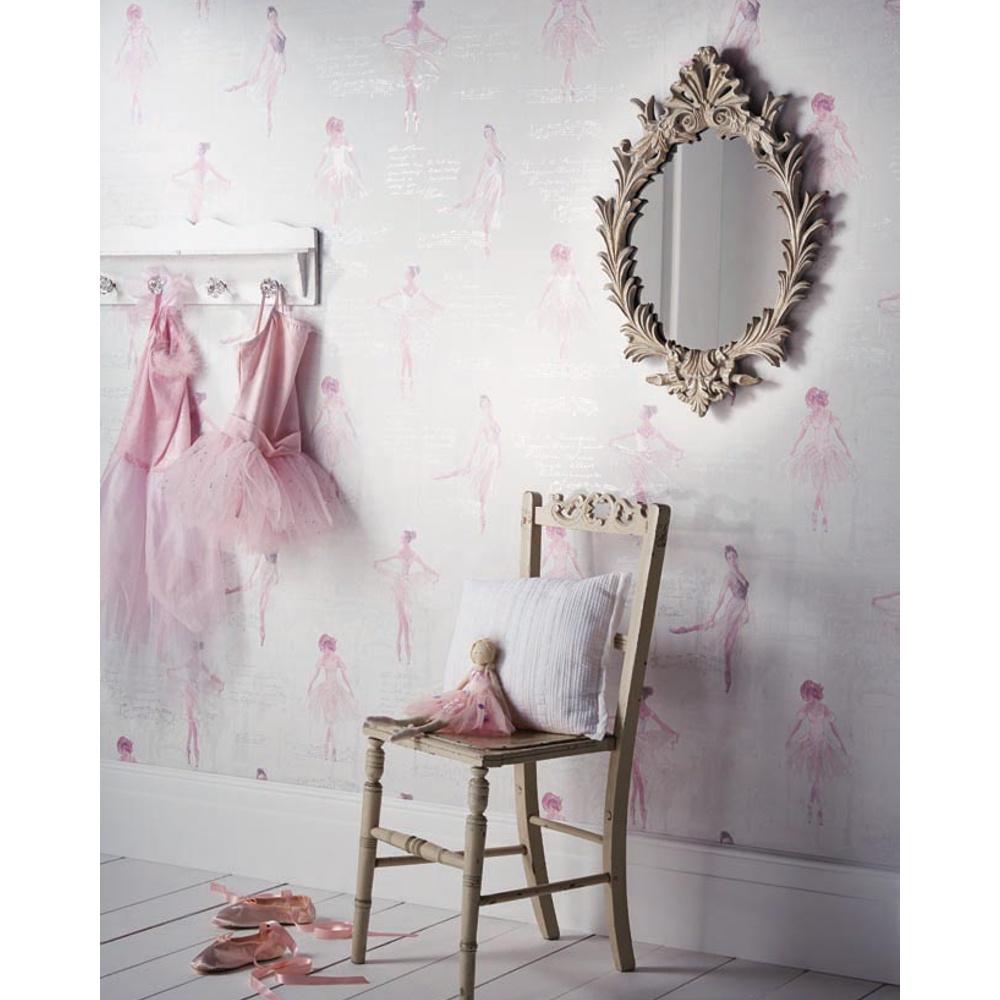 Arthouse Pirouette Ballet Dancer Pattern Metallic Glitter Pink Wallpaper  668200