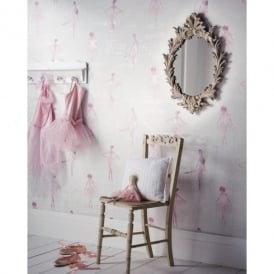 Arthouse Pirouette Ballet Dancer Pattern Metallic Glitter Pink Wallpaper 668200