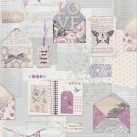 Arthouse PS I Love You Letter Pattern Heart Butterfly Motif Wallpaper 671201