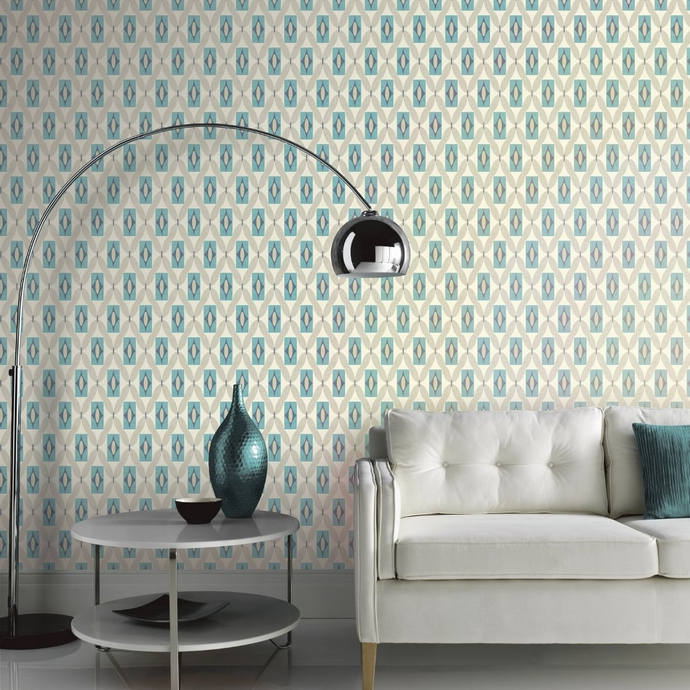 Arthouse Quartz Retro Geometric Pattern Wallpaper Abstract Floral ...