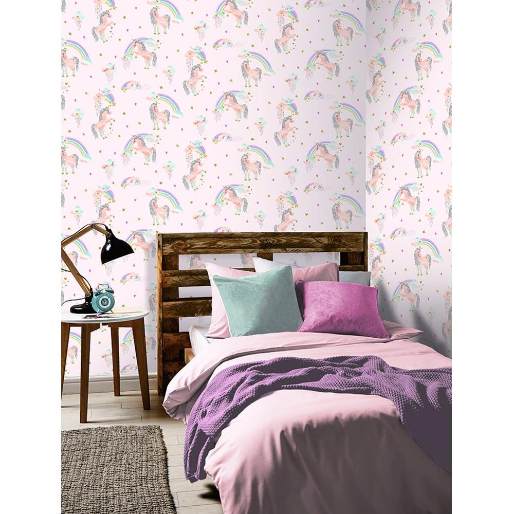 Simple Wallpaper Marble Unicorn - arthouse-rainbow-unicorn-pattern-childrens-wallpaper-glitter-pony-heart-motif-696108-p4260-10959_image  Image_906410.jpg