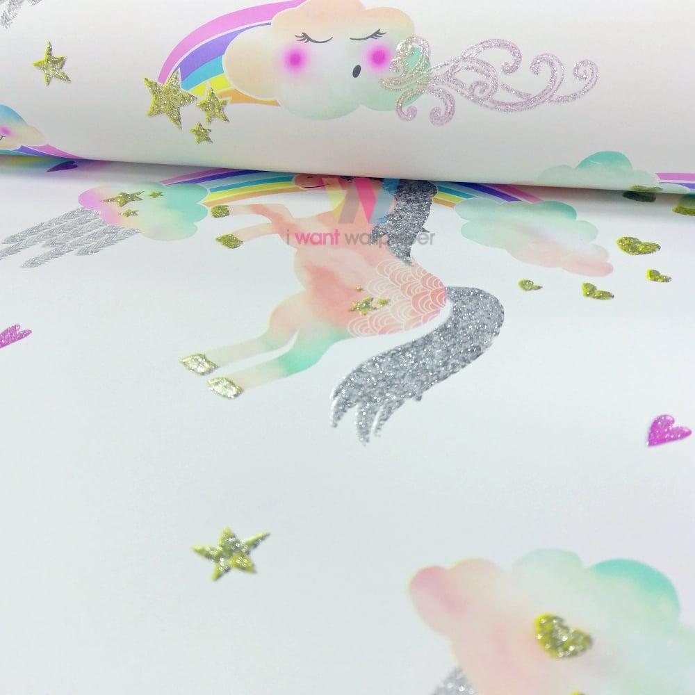 Must see Wallpaper Marble Unicorn - arthouse-rainbow-unicorn-pattern-childrens-wallpaper-glitter-pony-heart-motif-696109-p4261-10966_image  Photograph_943261.jpg