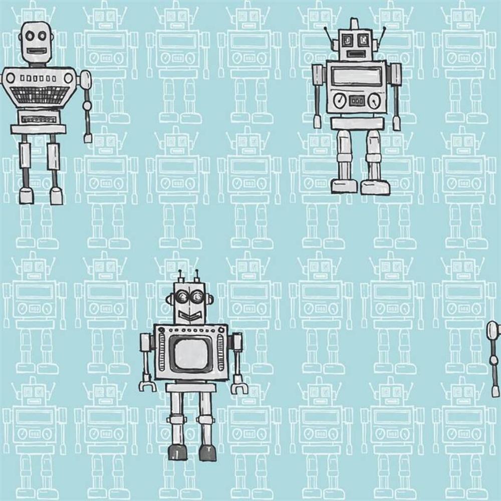 Teal Bedroom Wallpaper Arthouse Retro Robot Metallic Childrens Kids Bedroom Wallpaper 534001