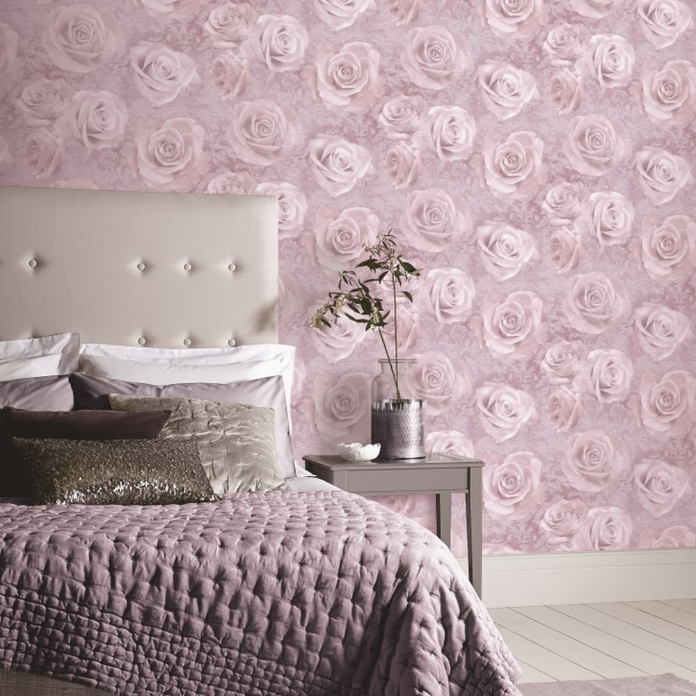 Arthouse Reverie Floral Damask Pattern Wallpaper Rose