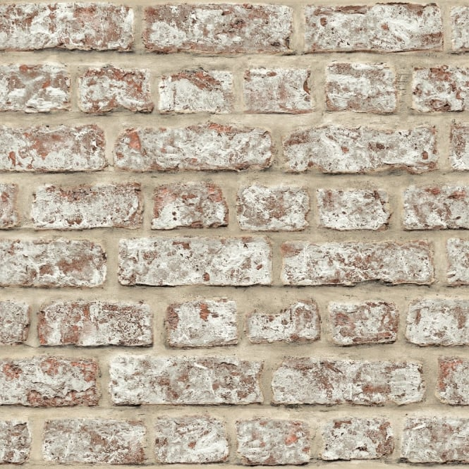 Arthouse Rustic Brick Pattern Painted Stone Wall Effect Wallpaper 889604