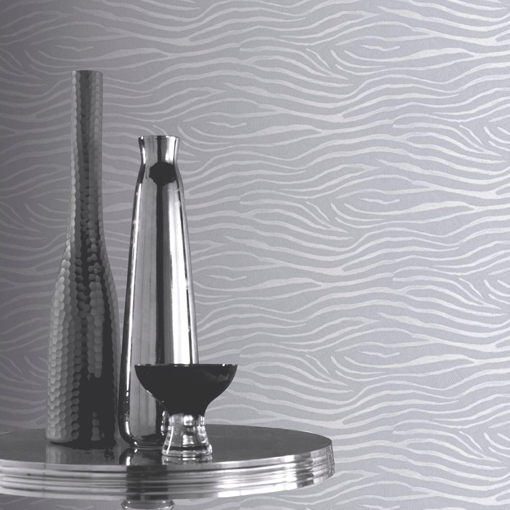 Zebra patterned wallpaper - Arthouse Serengeti Zebra Print Pattern Wallpaper Metallic Tiger Stripe Silver 670301