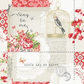 Arthouse Sing To Me Bird Pattern Floral Motif Metallic Silver Wallpaper 671300