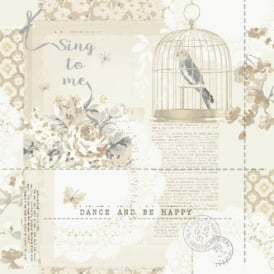 Arthouse Sing To Me Bird Pattern Floral Motif Metallic Silver Wallpaper 671301