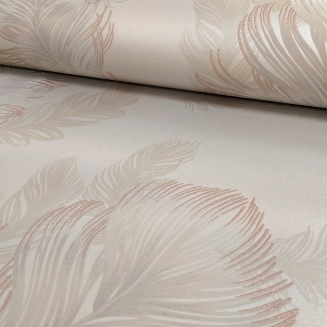 Arthouse Sirius Feather Pattern Bird Motif Metallic Textured Wallpaper 673600