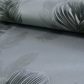 Arthouse Sirius Feather Pattern Bird Motif Metallic Textured Wallpaper 673602