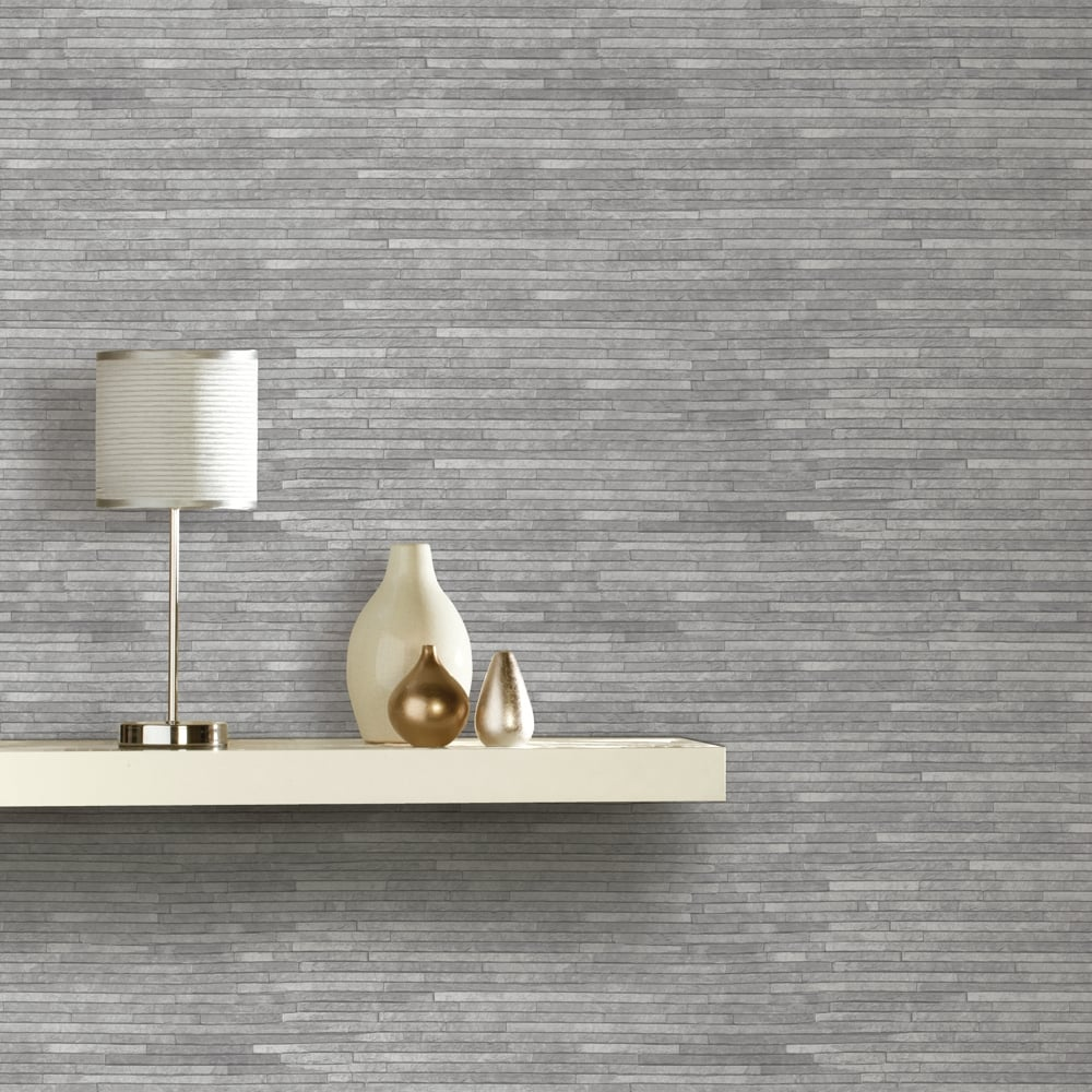Arthouse Slate Pattern Wallpaper Faux Effect Realistic Brick Grey Stone 694100