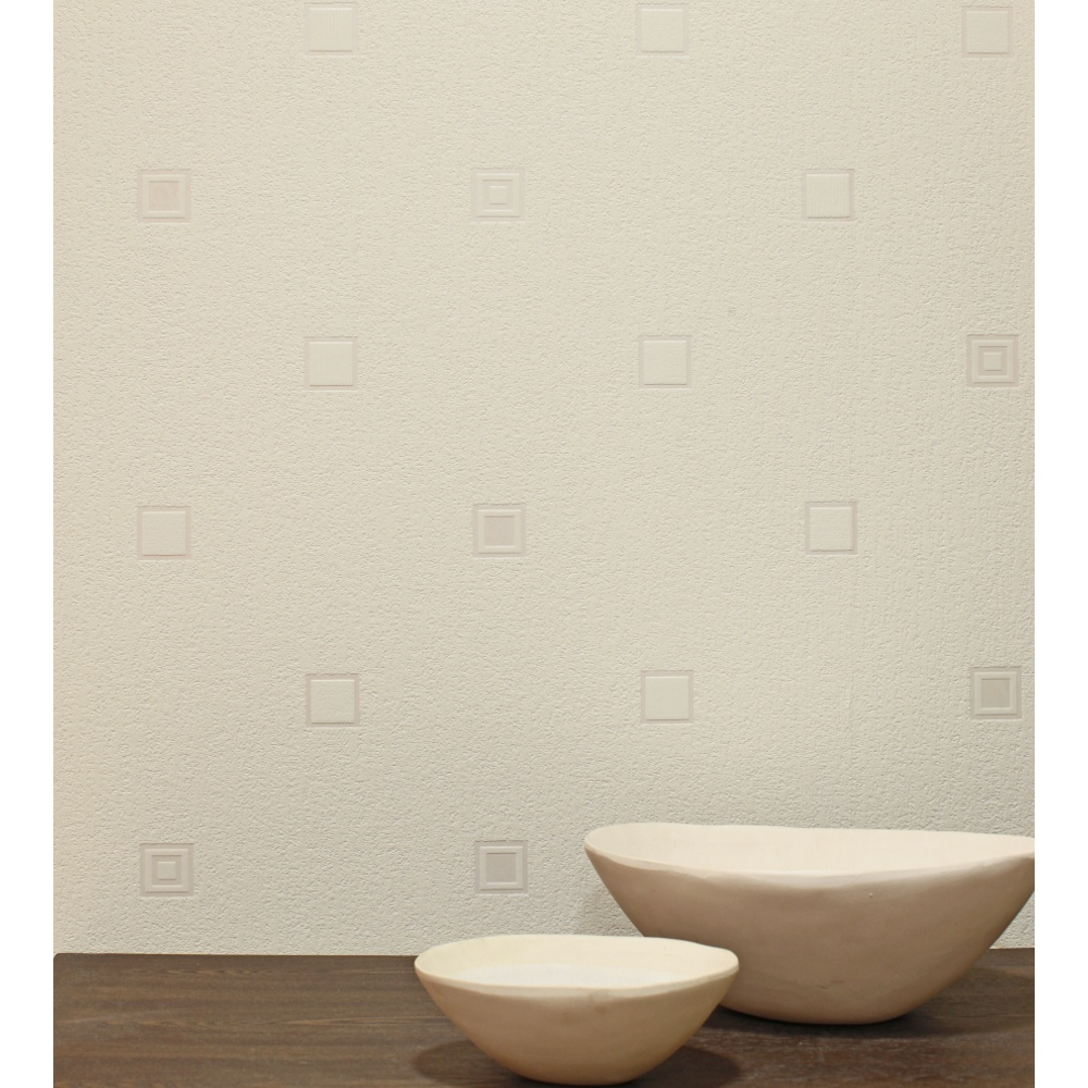 Textured paintable wallpaper - Arthouse Solo Cream Square Motif Vinyl Textured Paintable Wallpaper 820902