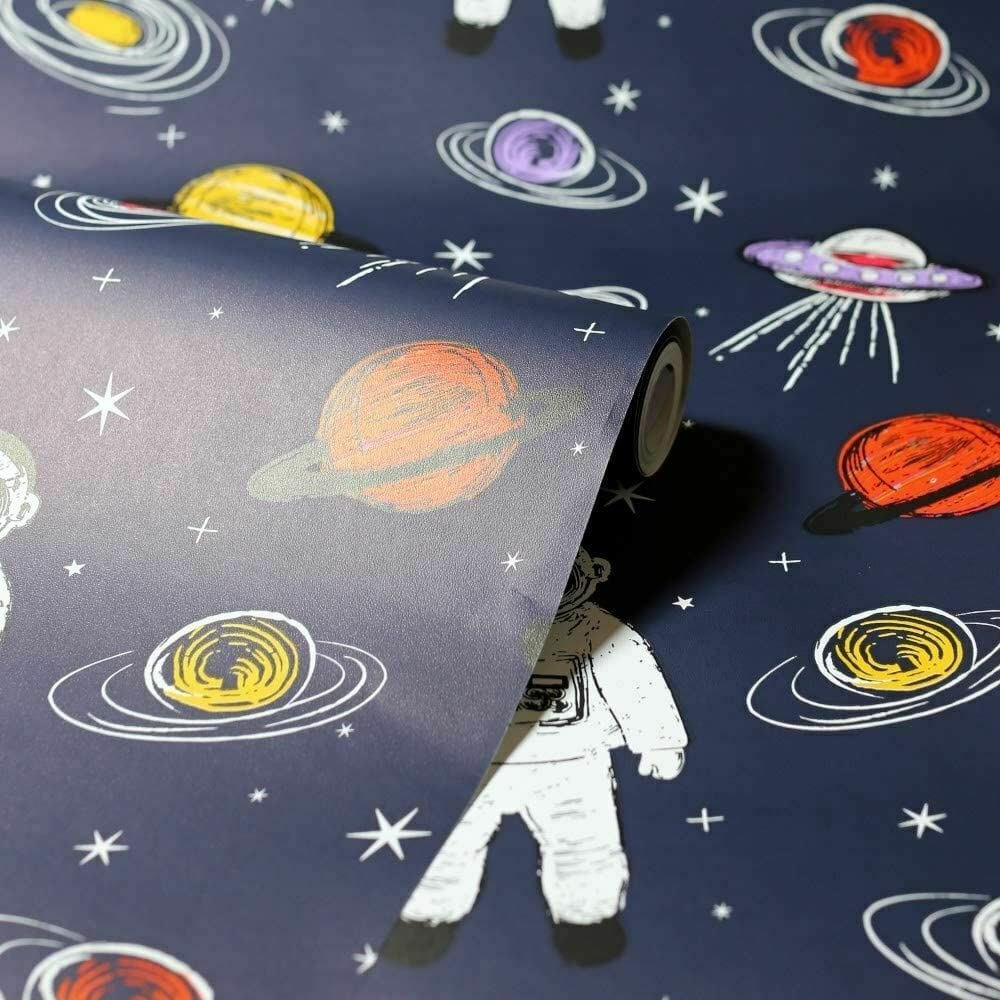 Arthouse Spaceman Astronaut Space Planets Ufo Wallpaper Kids Bedroom Navy Blue 697901